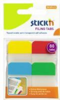 Stick index plastic transp. cu margine color 38 x 25 mm, 4 x 20 file/set, Stick\