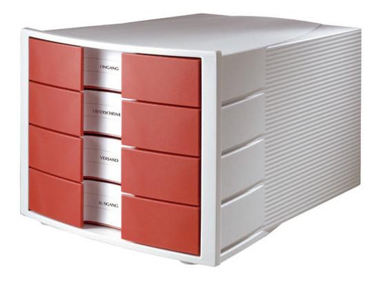 Suport Plastic Cu 4 Sertare Pentru Documente  Han Impuls - Gri Deschis/rosu
