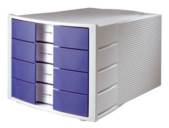 Suport Plastic Cu 4 Sertare Pentru Documente  Han Impuls - Gri Deschis/albastru
