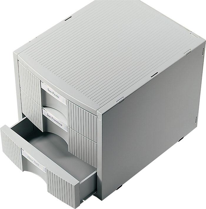 Suport Modular Pentru Birou  3 Sertare Pentru Documente  Helit Plano Plus - Gri Deschis