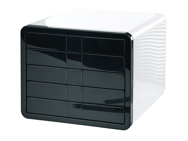 Suport Plastic Cu 5 Sertare Pentru Documente  Han Ibox - Alb Lucios/negru Lucios