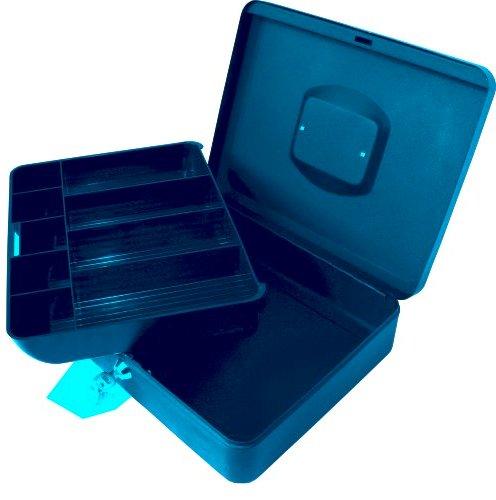Caseta (cutie) Metalica Pentru Bani  250 X 180 X 90 Mm  Cu Tavita Monezi Euro - Gri