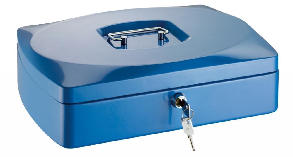 Caseta (cutie) Metalica Pentru Bani  330 X 235 X 90 Mm  Tavita Monezi  Alco - Albastra