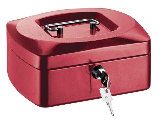 Caseta (cutie) Metalica Pentru Bani  205 X 160 X 85 Mm  Tavita Monezi  Alco - Rosie