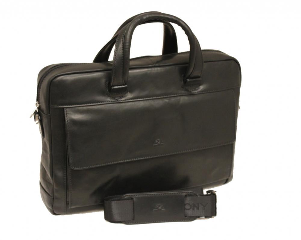 Geanta Dama  Din Piele Neagra  Pentru Laptop  38 X 28 X 8cm  Tony Perotti - Green Collection