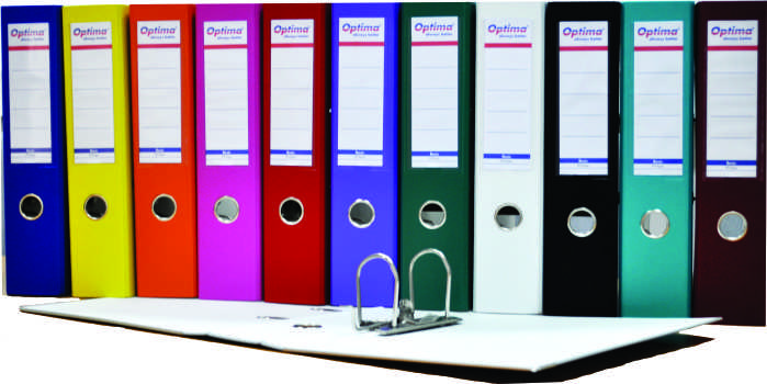 Biblioraft A4  Plastifiat Pp/paper  Margine Metalica  50 Mm  Optima Basic - Rosu