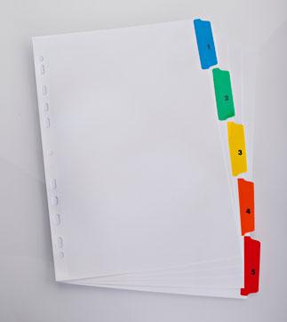 Index Carton Alb Mylar Numeric 1- 5  Margine Pp Color  A4 Xl  170g/mp  Elba