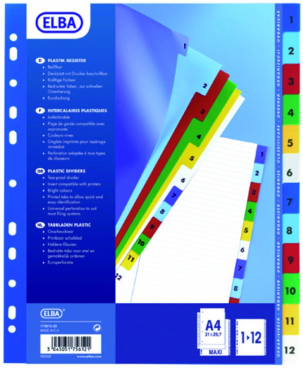 Index Plastic Color Numeric 1-12  A4 Xl  120 Microni  Elba