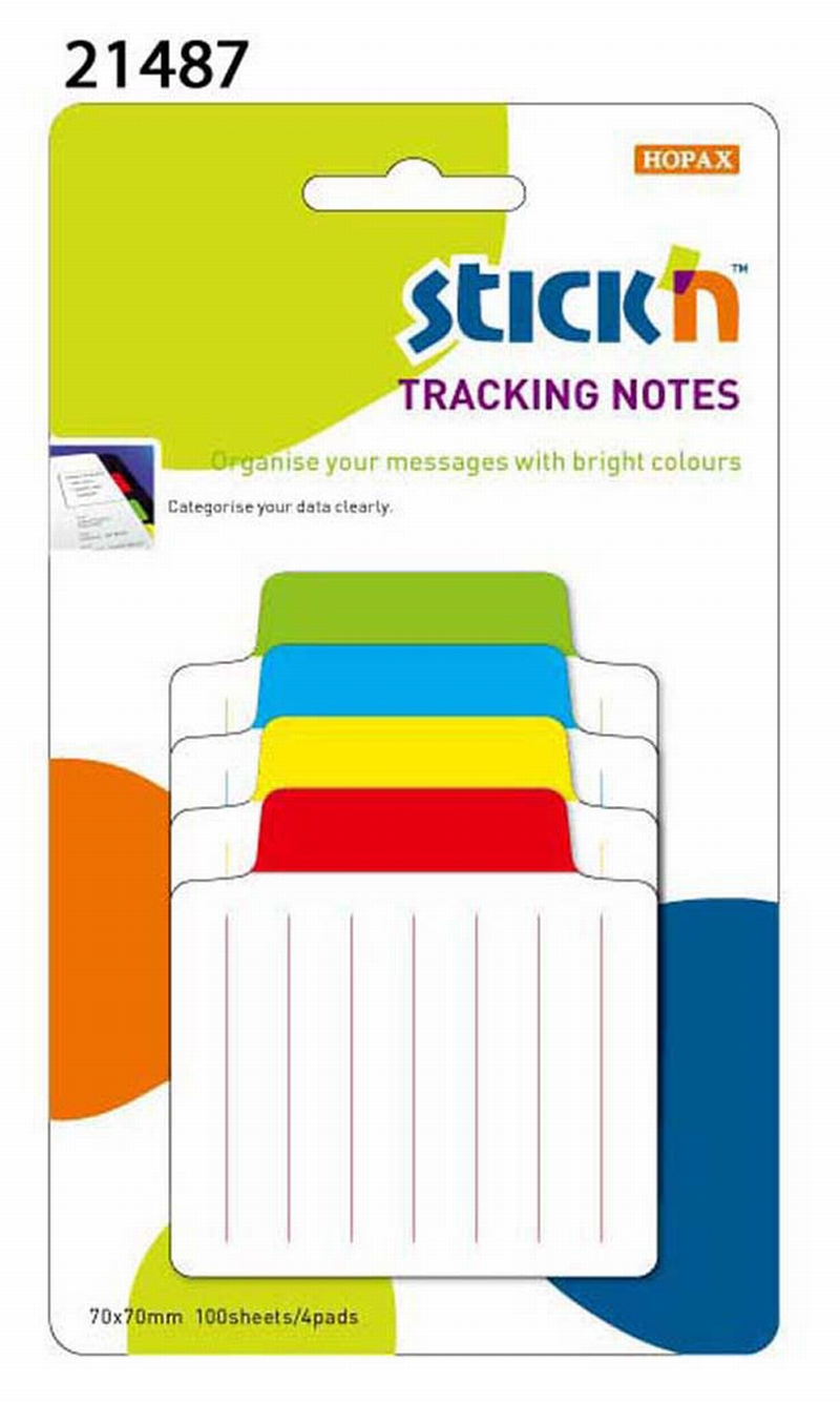 Tracking Notes 70.2 X70.2 Mm  4x25 File Liniate/set  Stickn - 4 Taburi In Culori Fosforescente