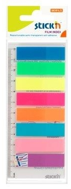 Stick Index Plastic Transp. Color 45 X 12 Mm  8 X 25 File/set + Rigla  Stickn - 8 Culori Neon