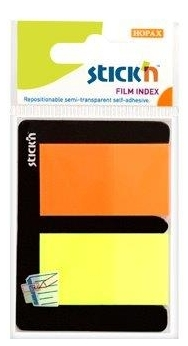 Stick Index Plastic Transparent Color 45 X 25 Mm  2 X 25 File/set  Stickn - 2 Culori Neon