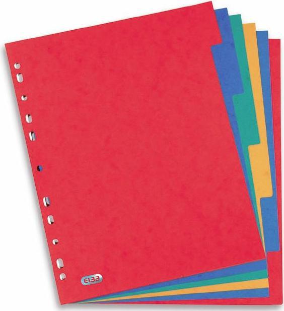 Separatoare Carton Color  A4 Xl  225g/mp  6 Culori/set  Elba