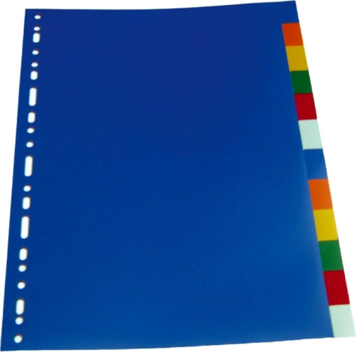 Separatoare Plastic Color  A4  120 Microni  10 Culori/set  Optima