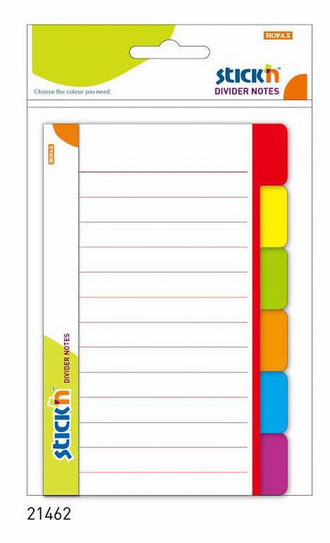 Divider Notes Autoadeziv Liniat Cu Separator  148.4 X 97 6 Mm  60 File  Stickn - 6 Culori Neon