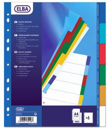 Separatoare Plastic Color  A4 Xl  120 Microni  6 Culori/set  Elba