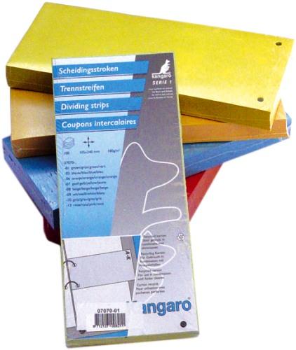 Separatoare Carton Pentru Biblioraft  180 G/mp  105 X 240 Mm  100/set  Kangaro - Rosu