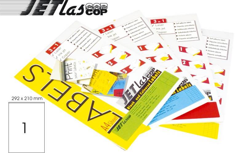 Etichete Color Autoadezive 1/a4  210 X 292 Mm  25 Coli/top  Jetlascop - Galben