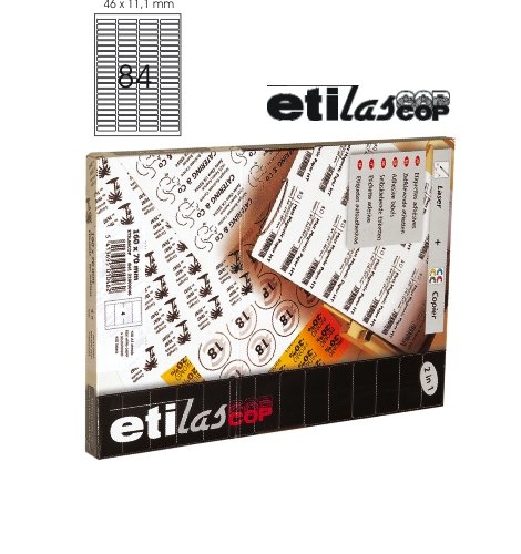 Etichete Autoadezive 84/a4  46 X 11 1 Mm  100 Coli/top - Colturi Rotunjite  Etilascop - Albe