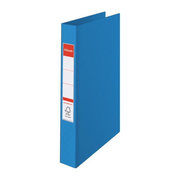 Caiet Mecanic A4  Plastifiat Pp  2 Inele - D25mm  Esselte Standard - Albastru Vivida