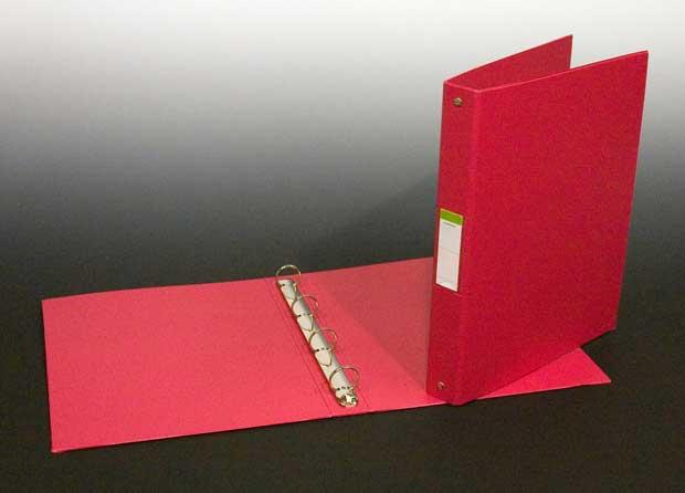 Caiet Mecanic 4 Inele - D25mm  Coperti Carton Plastifiat Pvc  A4  Aurora - Rosu