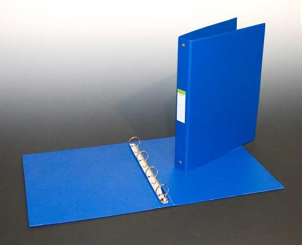 Caiet Mecanic 4 Inele - D25mm  Coperti Carton Plastifiat Pvc  A4  Aurora - Albastru