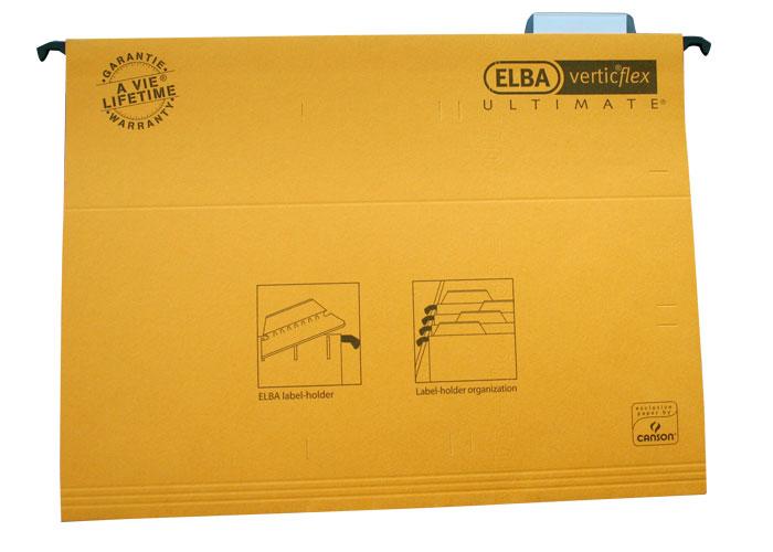 Dosar Suspendabil Cu Eticheta  Bagheta Metalica  Carton 330g/mp  Elba Verticflex Ultimate - Galben