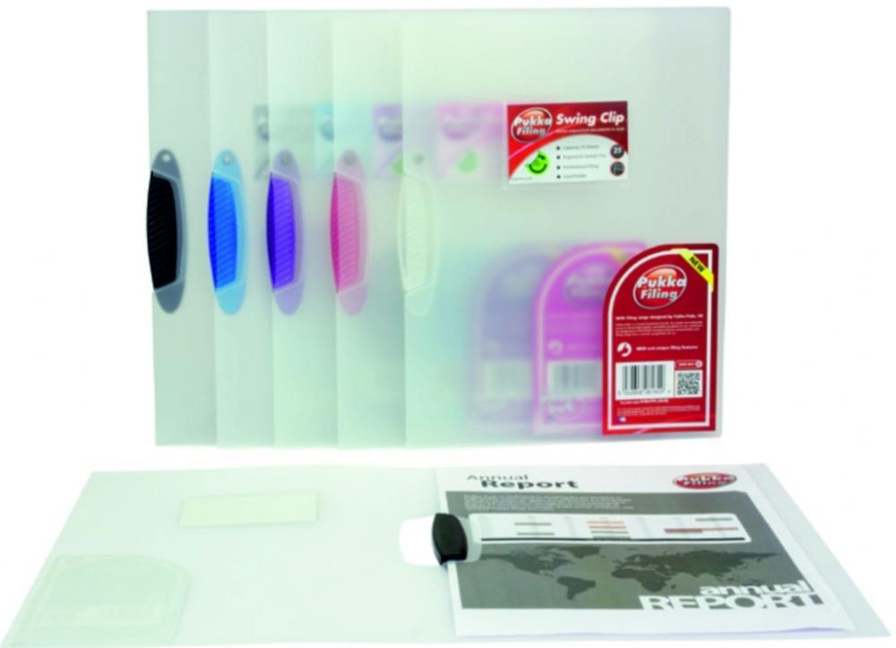 Dosar Din Plastic Transparent  Cu Clema Pivotanta  Pukka - Clema Albastra