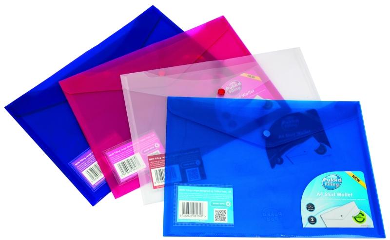 Mapa Protectie Documente  A4 Landscape  Cu 2 Buzunare Si Capsa  5/set  Pukka - Transparent Violet