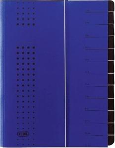 Mapa Carton Pentru Sortare Cu 12 Separatoare Si Index Elba - Albastru
