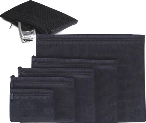 Buzunar Buretat A7  Cu Fermoar Textil Negru  Exiton