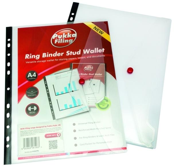 Folie Protectie Documente A4  Cu Clapa Laterala Cu Capsa  5 Buc/set  Pukka - Transparent
