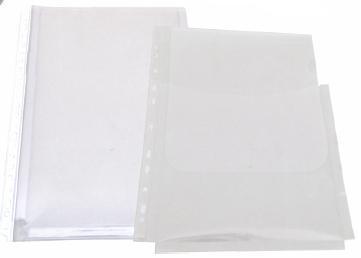 Folie Protectie Documente A4  Cu Burduf 20mm  Pp - 180 Microni  Cu Clapa Verticala  10/set  Optima