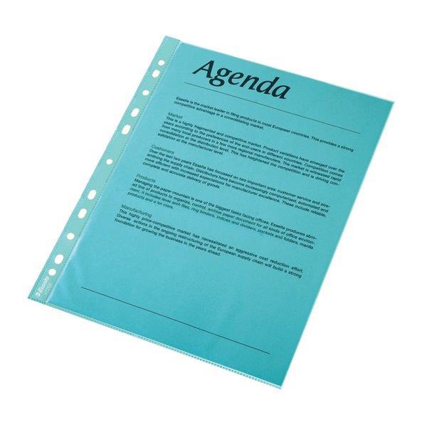Folie Protectie Color Pentru Documente  10folii/set  Esselte - Albastru Transparent