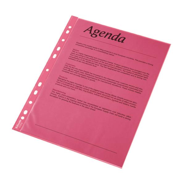 Folie Protectie Color Pentru Documente  10folii/set  Esselte - Rosu Transparent