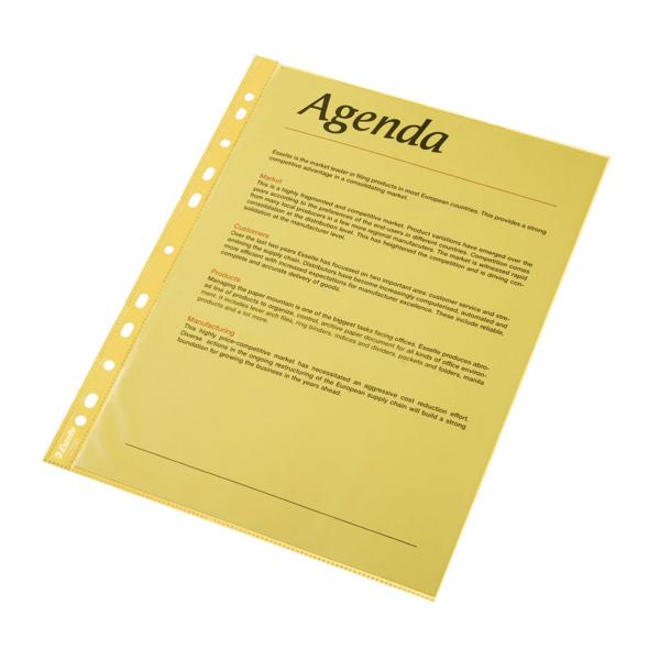 Folie Protectie Color Pentru Documente  10folii/set  Esselte - Galben Transparent