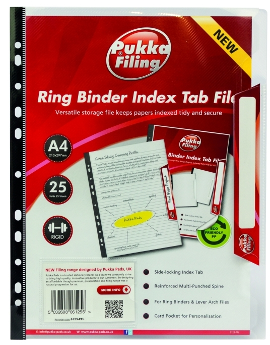 Folie Protectie Documente A4  Cu Index  Capacitate 25 Coli  5 Buc/set  Pukka - Transparent