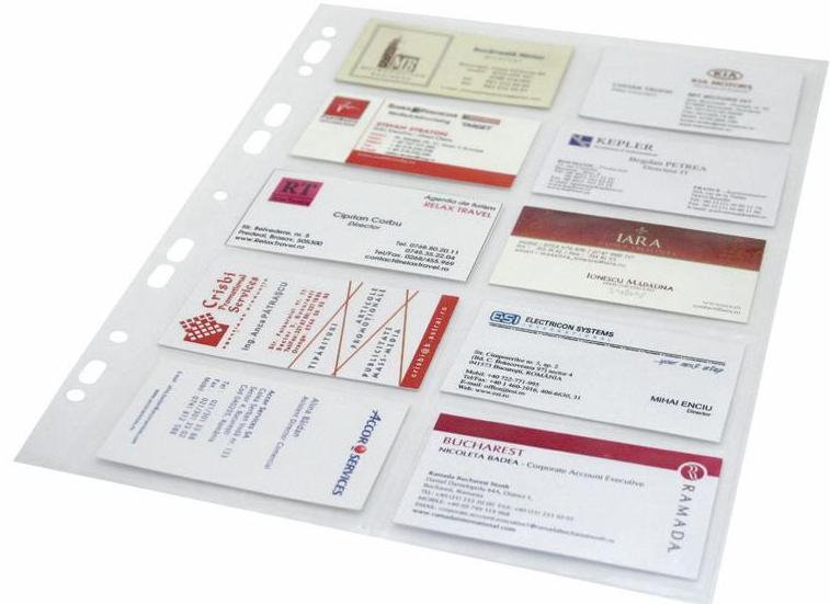 Folie Protectie Pentru 20 Carti De Vizita  120 Microni  10/set  Optima - Cristal