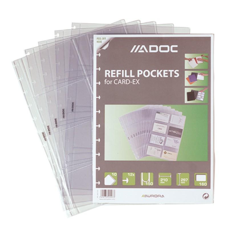 Rezerve Folii A4  Pentru 16 Carti De Vizita  10 Buc/set  Aurora Adoc - Coperta Neagra