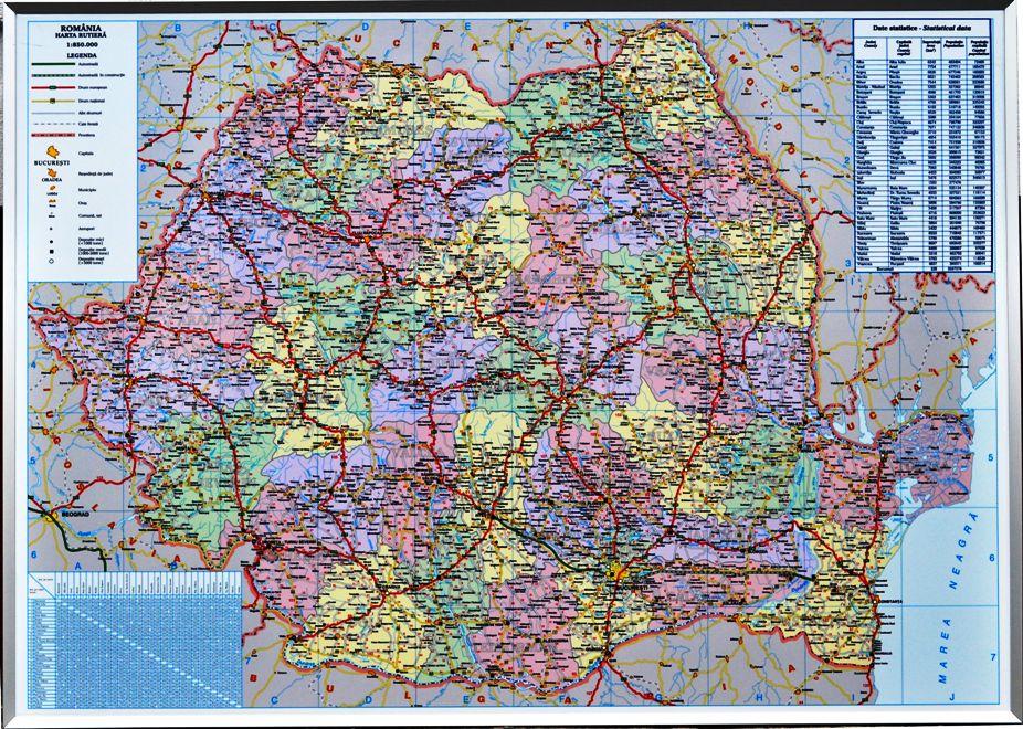 Harta Romaniei (rutiera+administrativa) 100 X 140 Cm  Profil Aluminiu Rc