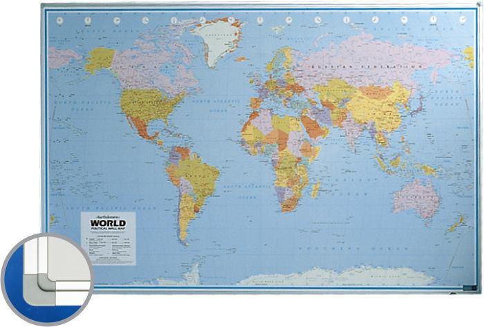 Harta Lumii (politica) 100 X 136 Cm  Profil Aluminiu Sl  Smit