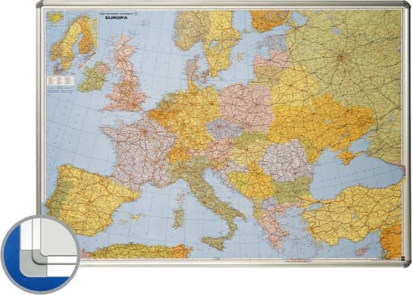 Harta Europei (rutiera+administrativa) 85 X 125 Cm  Profil Aluminiu Sl  Smit