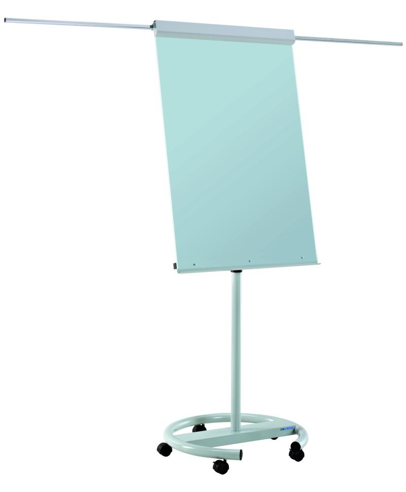 Flipchart Magnetic  Din Sticla  106 X 72 Cm  Cu Brate Laterale  Cu Rotile  Smit Vario