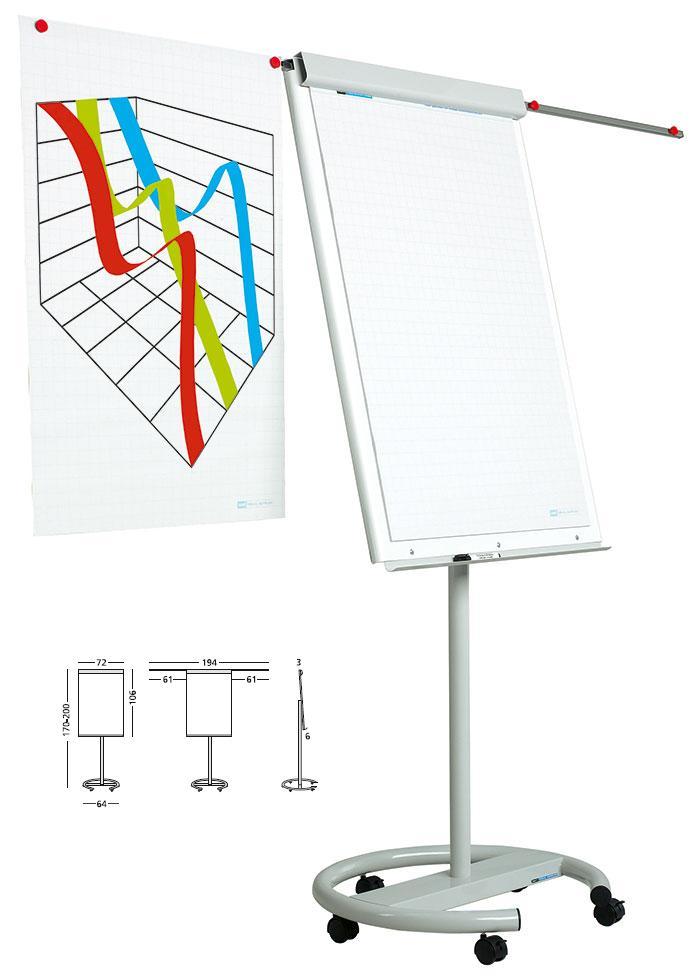Flipchart Magnetic  105 X 70 Cm  Cu Brate Laterale  Cu Rotile  Smit Vario