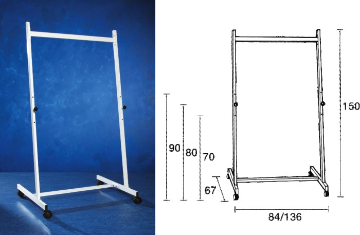 Stand Metalic 140 Cm Latime  150 Cm Inaltime  Pe Rotile  3 Pozitii Fixe  Smit