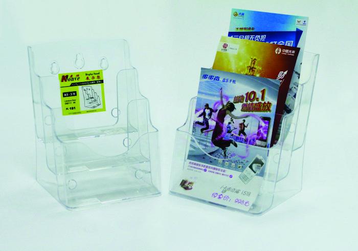 Display Plastic Pentru Brosuri  De Birou/perete  3 X A5  Kejea - Transparent