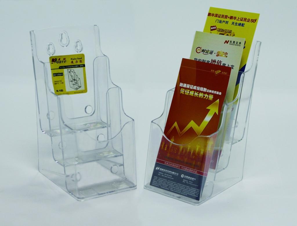 Display Plastic Pentru Brosuri  De Birou/perete  3 X 1/3a4  Kejea - Transparent