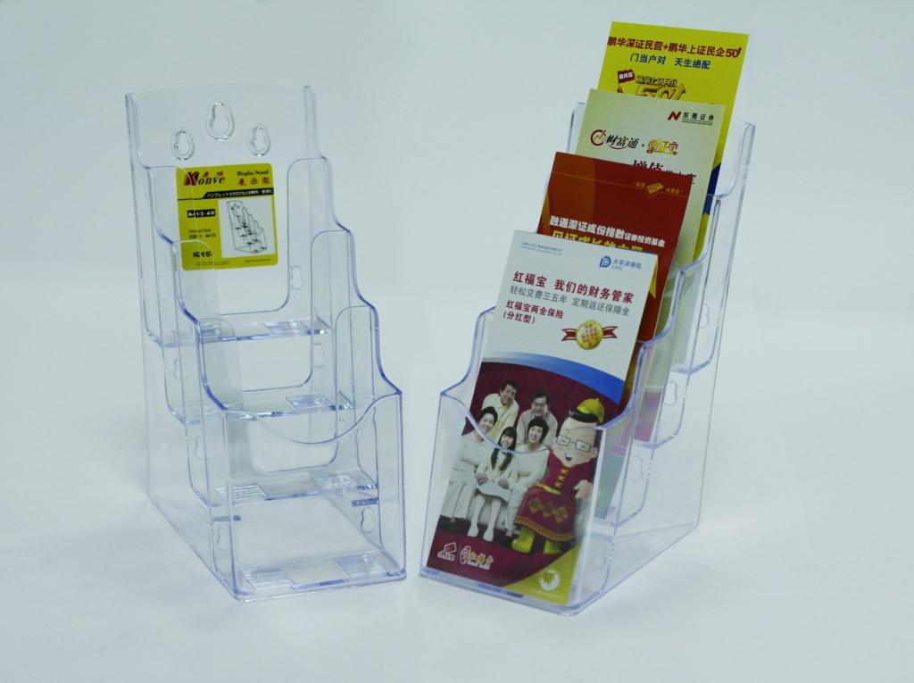 Display Plastic Pentru Brosuri  De Birou/perete  4 X 1/3a4  Kejea - Transparent