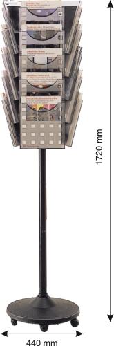 Display Modular Rotativ  15 X A4  Pentru Pliante  Helit - Transparent Cristal