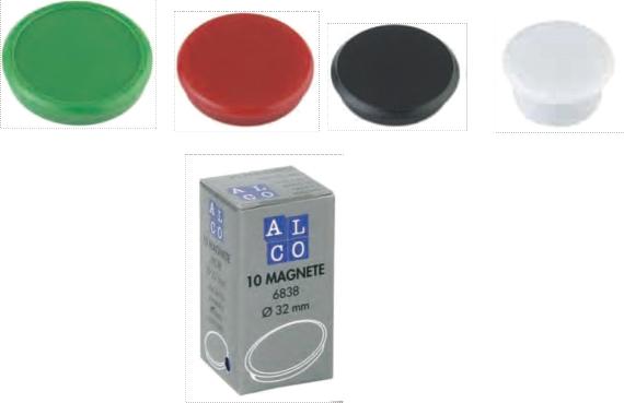 Magneti 32mm  10/cutie  Alco - Rosu