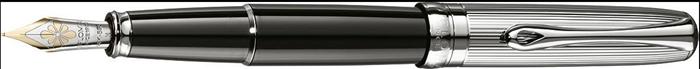 Stilou De Lux Diplomat Excellence A - Guilloch Chrome Black - Penita Aurita 14kt